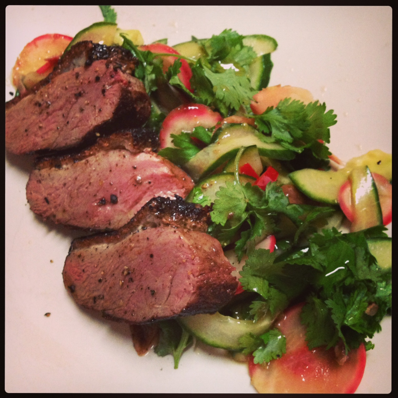 Tea Smoked Duck Breast with Chinese inspired Salad | CatherineCooks